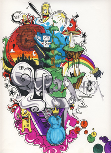 personnage champignon bande dessinee feerie graffiti