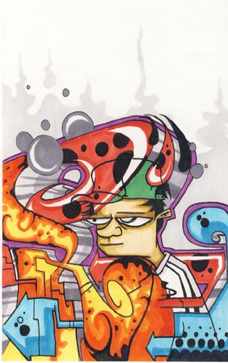 personnage feerie pollution bande dessinee graffiti