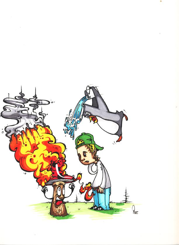 feu champignon enfant jeu graffiti hip hop