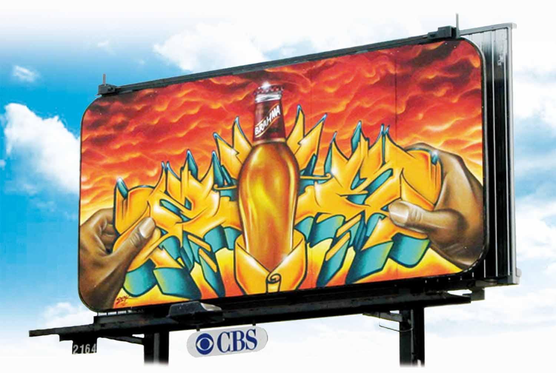 Panneaux publicitaires en graffiti CBS Labatt Brahma
