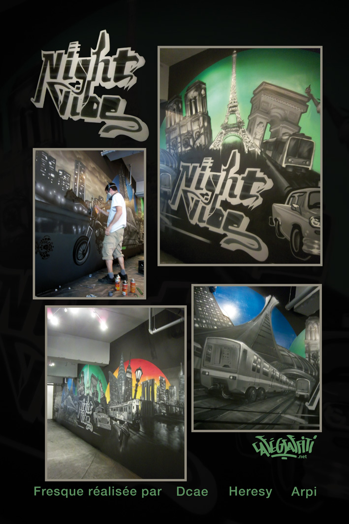 murale night vibe muraliste graffiti magasin hip hop vetement